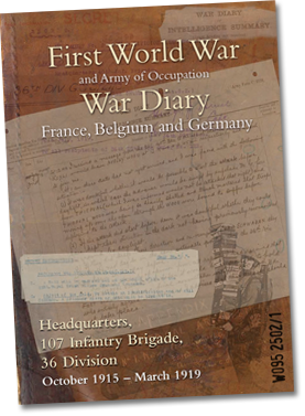 First World War and Army of Occupation War Diary - France, Belgium and Germany